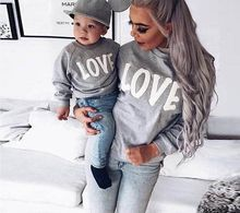 2017 New Hot Autumn&Winter Family Sweatshirts Love Print Casual Long Sleeve Pullovers Hoodies,Mother and Daughter Son