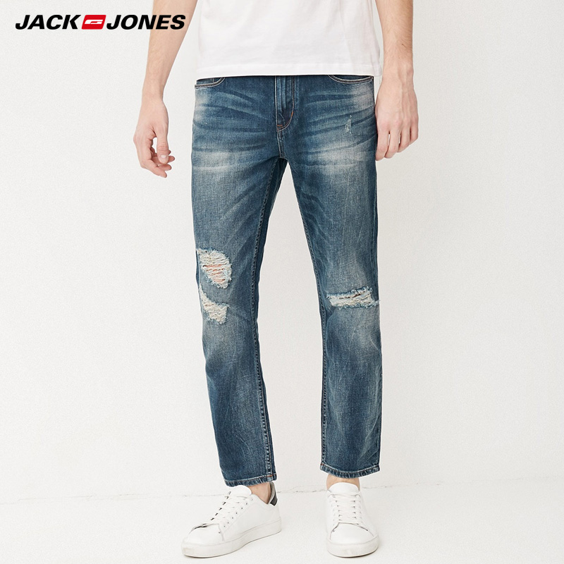 Jack & Jones Brand Men Jeans Fasion Holes Cotton And Linen Slim Long Male Jeans Mens Ripped Jeans  217232518