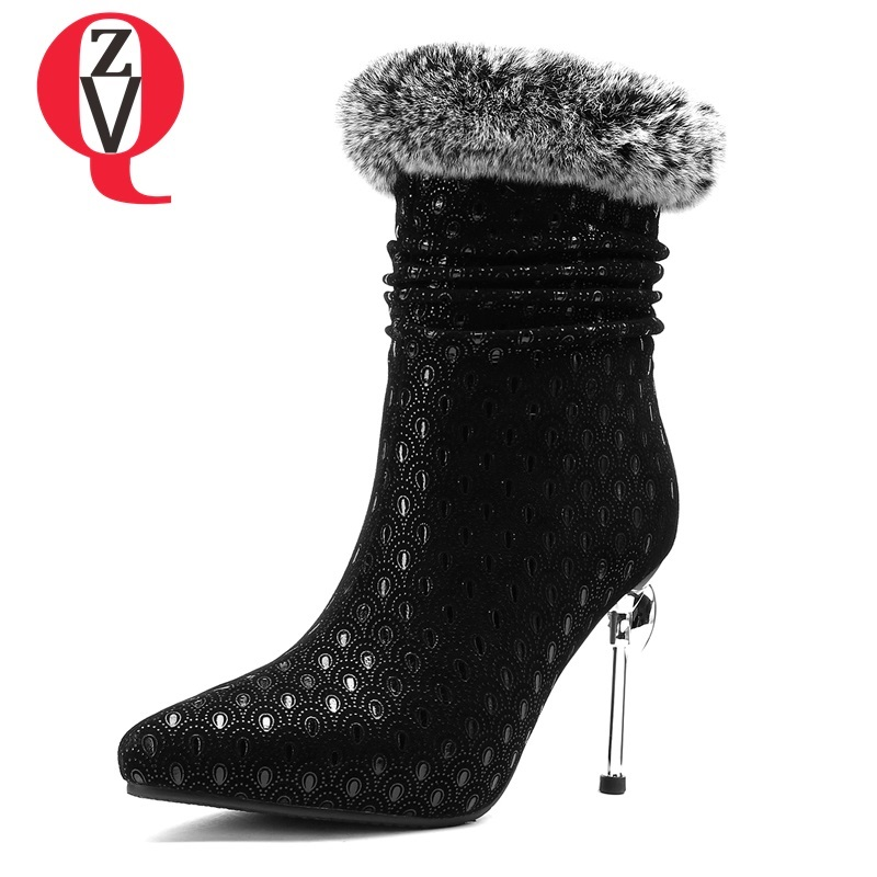 ZVQ hot sale 2018 new fashion elegant pointed toe super high thin heels kid suede winter women mid calf boots large size shoes mary yanxi new fashion high heels women boots lace up pointed toe shoes mid calf worm boots thin heels elegant shoes big size43