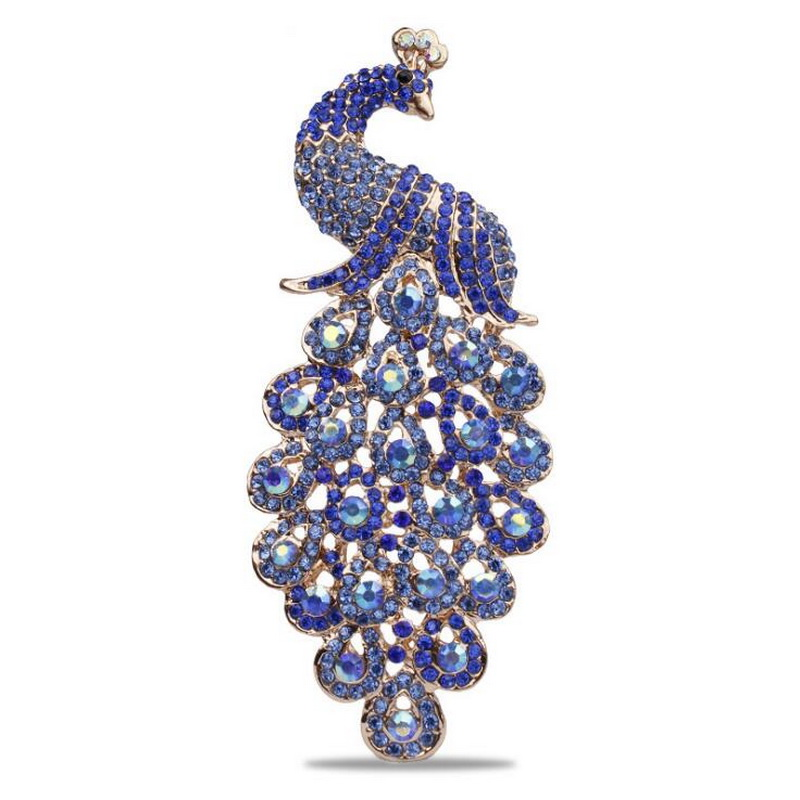 цена на Large Size Shining Colored Crystal Rhinestones Peacock Brooches in 6 assorted Factory Direct Sale