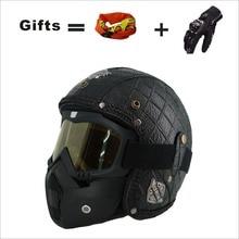KCO PU Leather Harley 3/4 Motorcycle Chopper Bike Helmet Retro & Goggles Mask