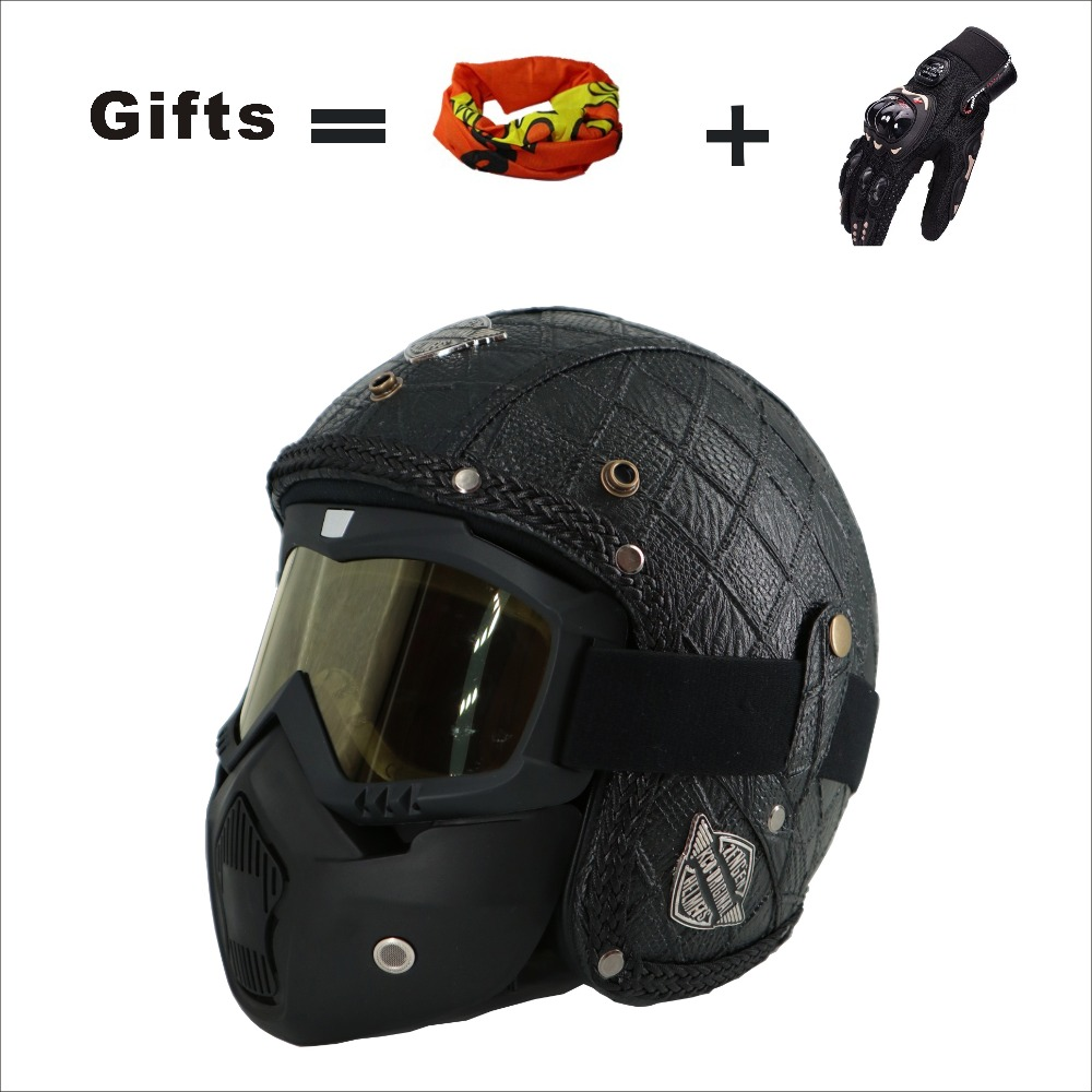KCO PU cuir Harley 3/4 moto Chopper casque de vélo rétro moto casque & lunettes masque