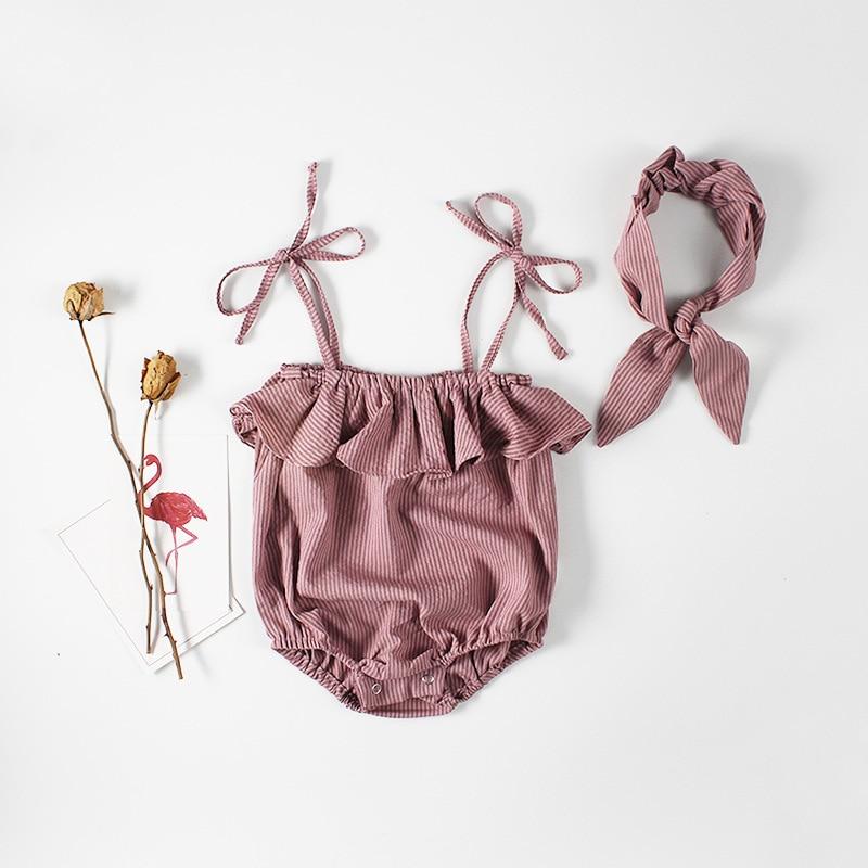 Everweekend новорожденных милые обувь для девочек в полоску комбинезон с завязками и повязка на голову младенческой Ins Детская летняя одежда мал...