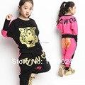 2017 Marca Primavera das Crianças Menino e GirlsClothing Define Crianças Tiger Impresso Two-pieces Ternos de Algodão Criança Outerwear Coustme