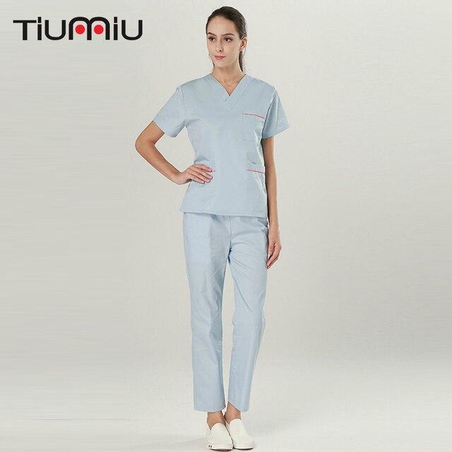1a1bb818b09 Nurse Doctor Uniform Women Medical Scrub Set Lab Jacket+Pants Clothes  Scrubs Dental Clinic Hospital Short Sleeve V-neck Overalls