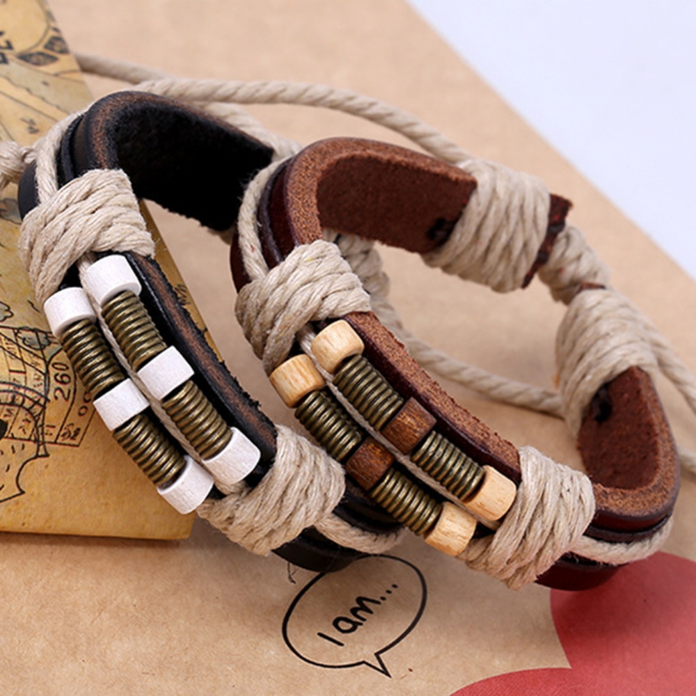 Mens Womens Punk Style Bangle Bronze Spring Wood Beads Weave Real Leather Bracelet