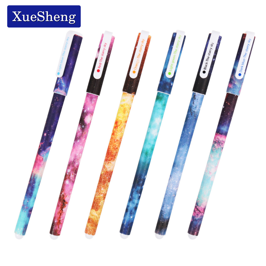 Купить со скидкой 6 PCS / set Color Gel Pen Starry Pattern Cute Kitty Hero Roller Ball Pens Stationery Office School S
