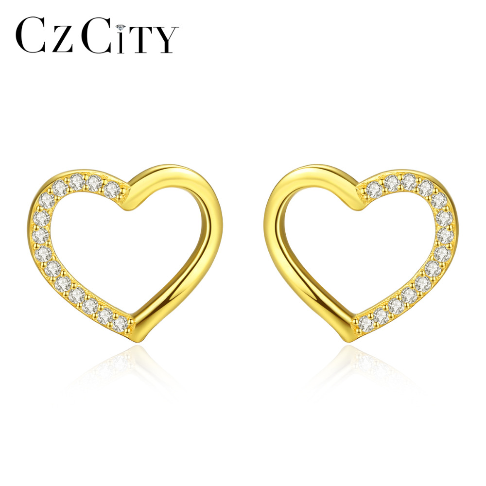 CZCITY Pure Sterling Silver 925 Stud Earrings For Women Charming Hollow Heart Design Post Earrings Jewelry Valentine's Day Gift