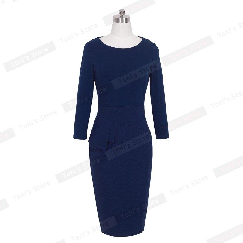 Ницца-навсегда карьера женщины баски работа платье 3/4 рукавом о шеи женщины моды оболочка элегантный бизнес bodycon карандаш платье b228