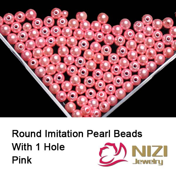 6mm 8mm 10mm Straight Hole Beads DIY Crafts Accessory Decorations Pink Round Resin Imitation Pearls 100g/bag makita 6408