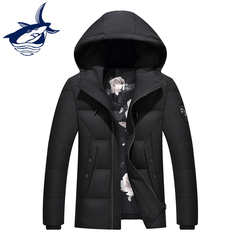Light Down Men Fashion Tace & Shark Hood Down Jacket Simple Design Zipper White Duck Down Coat Men Winter Jacket For Men