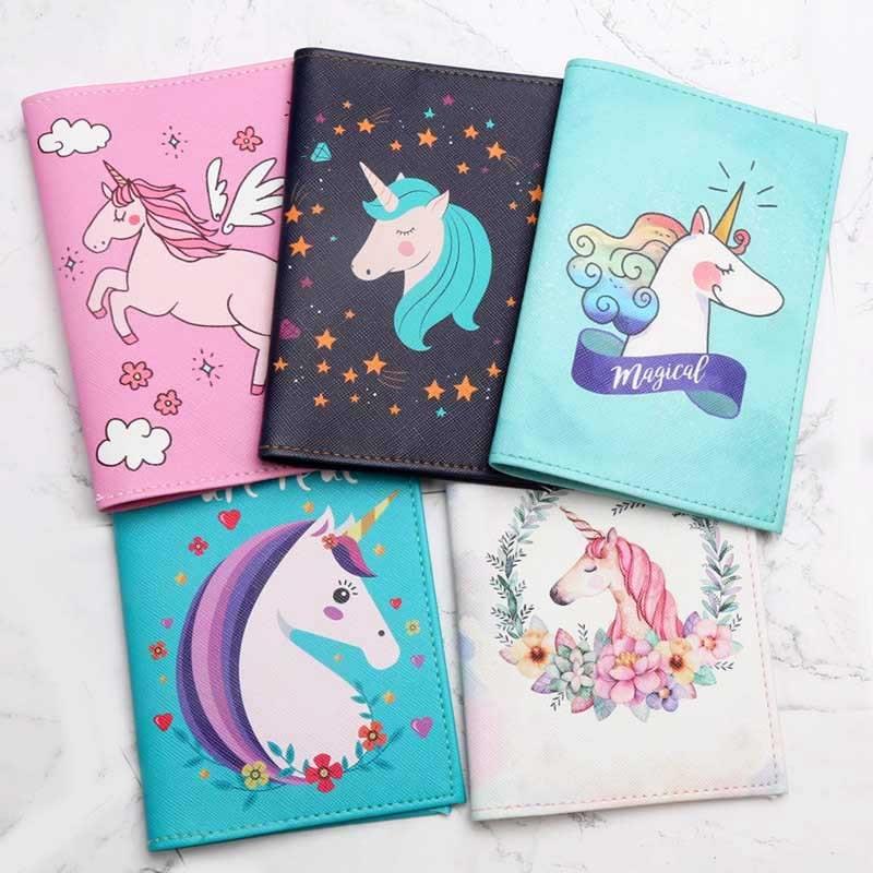 Case-Card Id-Holders Unicorn Passport-Cover Travel Women Fashion Cartoon Cute PU 21-Styles