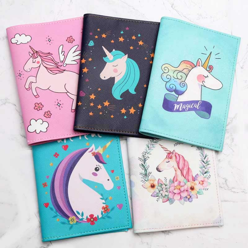 21 Styles Fashion Cute Unicorn Cartoon Passport Cover Men Women PU Leather Travel Passport Holder Case Card ID Holders 14.5*10cm