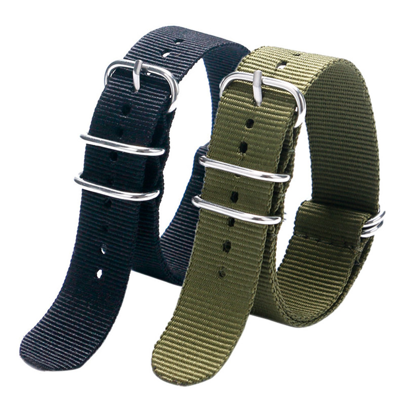 Fashion 20mm 22mm Black/Army Green Watch Strap Nylon Cavan Fabric 5 Ring Stainless Steel Pin Buckle for Sport Watch Watchband high quality 20 22 24mm military nylon army green soft belt bracelet replacement pin buckle sport outdoor watch strap band
