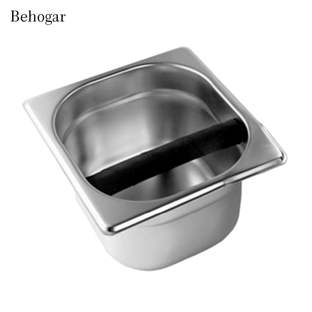 Behogar Stainless Steel Espresso Coffee Knock Box Container Bucket For Home Cafe Bars Coffee Maker Machine Tool Accessory Size S