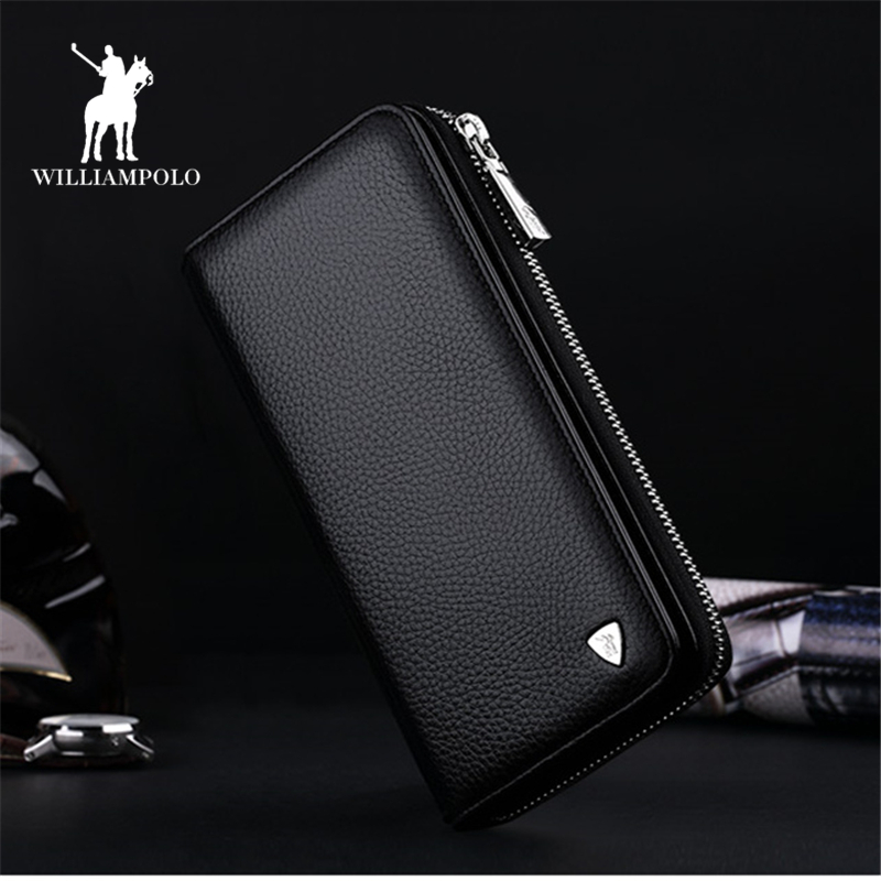 Genuine Leather Mens Wallet Leather Zipper Long Wallets Man Business Male Purses Casual Cow Leather Small Card Wallet PL131