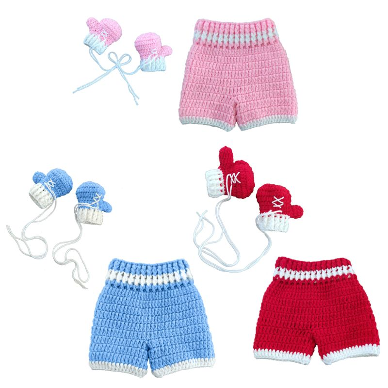 0 3month Baby Crochet Photography Props Shoot Newborn Photo Cool Boy Costumes Infant Pants Clothing Set in Hats Caps from Mother Kids