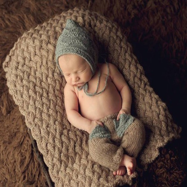 Isocute newborn cool baby boy crochet knit costume outfit photo photography prop toddler pixie beanie hat