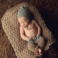 Newborn Cool Baby Boy Crochet Knit Costume Outfit Photo Photography Prop Toddler Pixie Beanie Hat and Pant Set Retail