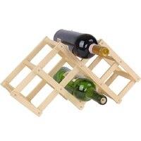 New Style Wood Color Folding Solid Fashion Creative Gift Art Make Taste 6 Bottled Red Wine Bottle Shelf Holder Rack Vino