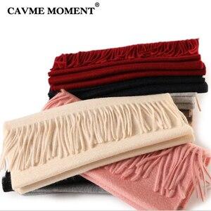Image 3 - CAVME TOP Grade 100% Cashemere Schal für Mädchen Junge Kinder Rot Weihnachten Einfarbig Schals Geschenk 28*180cm 120g CUSTOM Brief