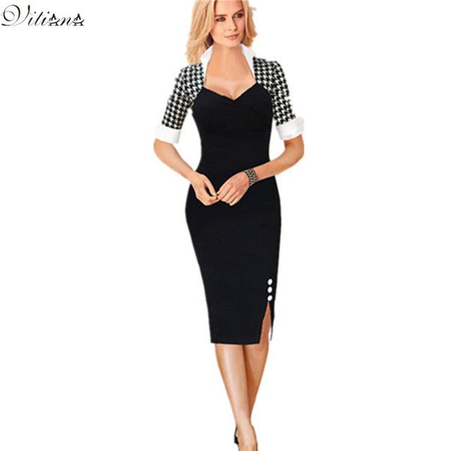 Vestido Bodycon com Bainha Pencil, de Festa, para Negócios, para trabalho, túnica bloco de cor Rockabilly Retro atraente Vintage feminino novo 2016,