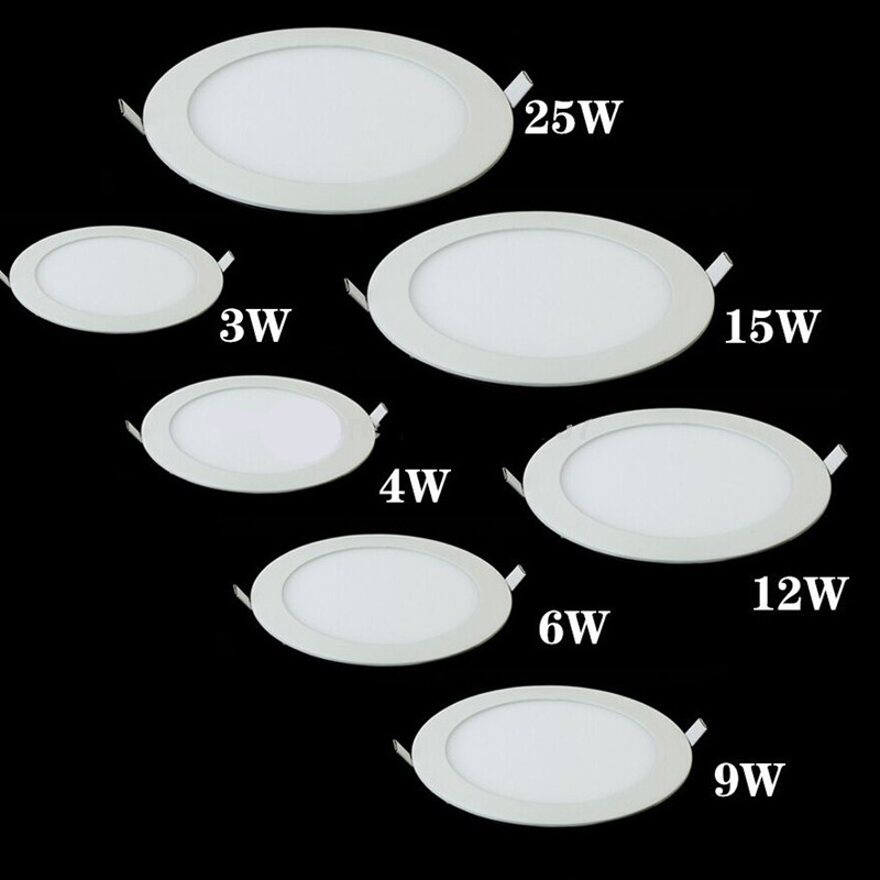 Dimmable LED panneau lumineux Ultra mince plafond encastré Downlight 3 w 4 w 6 w 9 w 12 w 15 w 25 w LED ronde Spot AC85-265V