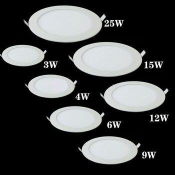 Luz de Panel LED regulable, luz empotrada de techo Ultra delgada, luz empotrada de 3w 4w 6w 9w 12w 15w 25w, luz de punto LED redonda AC85-265V