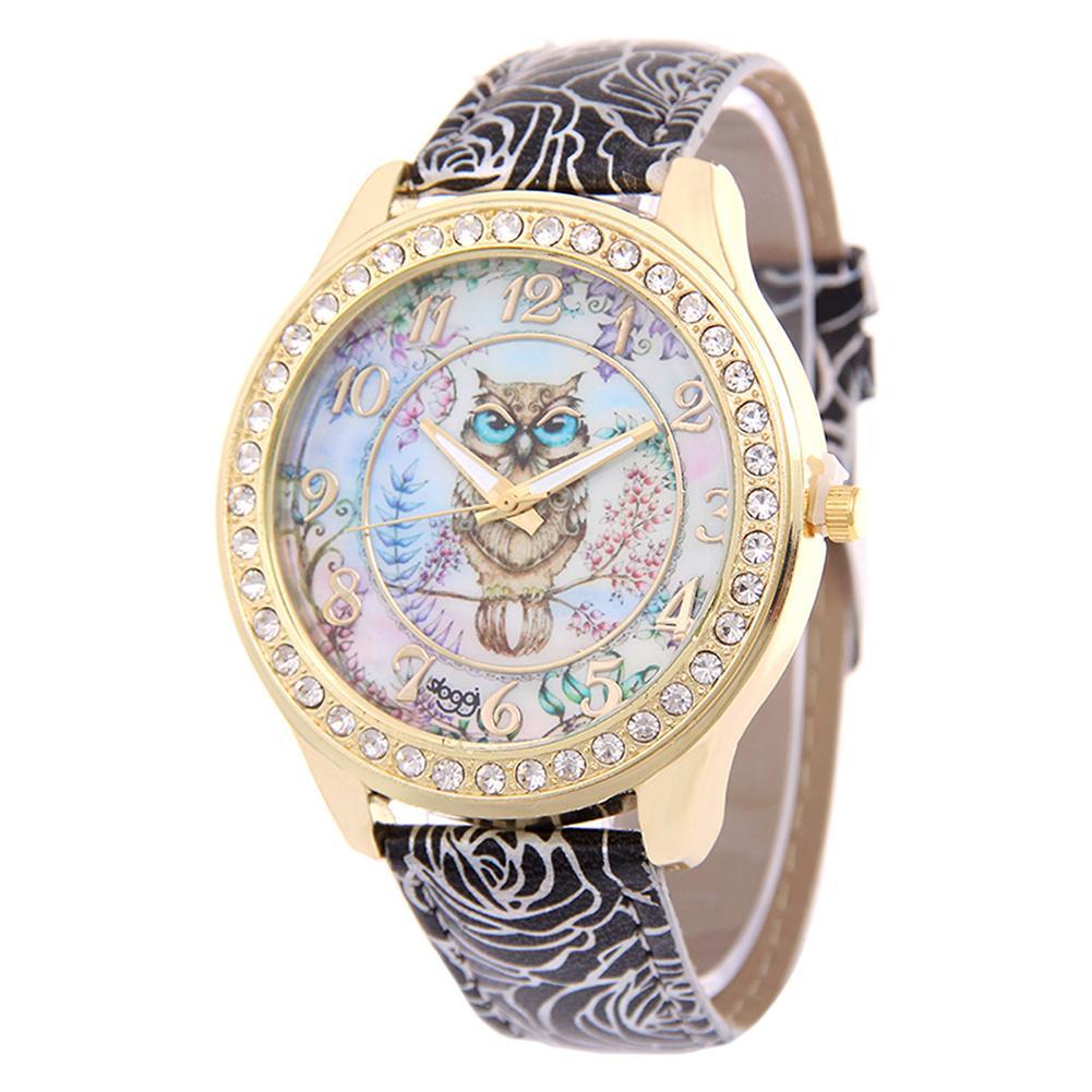 Women Cartoon Owl Print Dial Rhinestone Faux Leather Band Quartz Wrist Watch montre femme reloj relogio