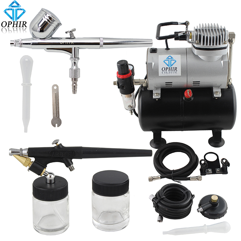 OPHIR 0.3mm & 0.8mm 2-Airbrush Gravity Dual-Action Kit Tank Air Compressor 110V, 220V for Hobby Paint Makeup _AC090+AC004A+AC071 ophir 110v 220v 2 double action airbrush