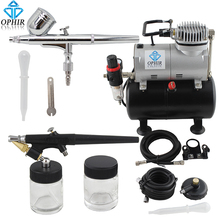 цена на OPHIR 0.3mm & 0.5mm 2-Airbrush Gravity Dual-Action Kit Tank Air Compressor for Hobby Makeup _AC090+AC004A+AC071
