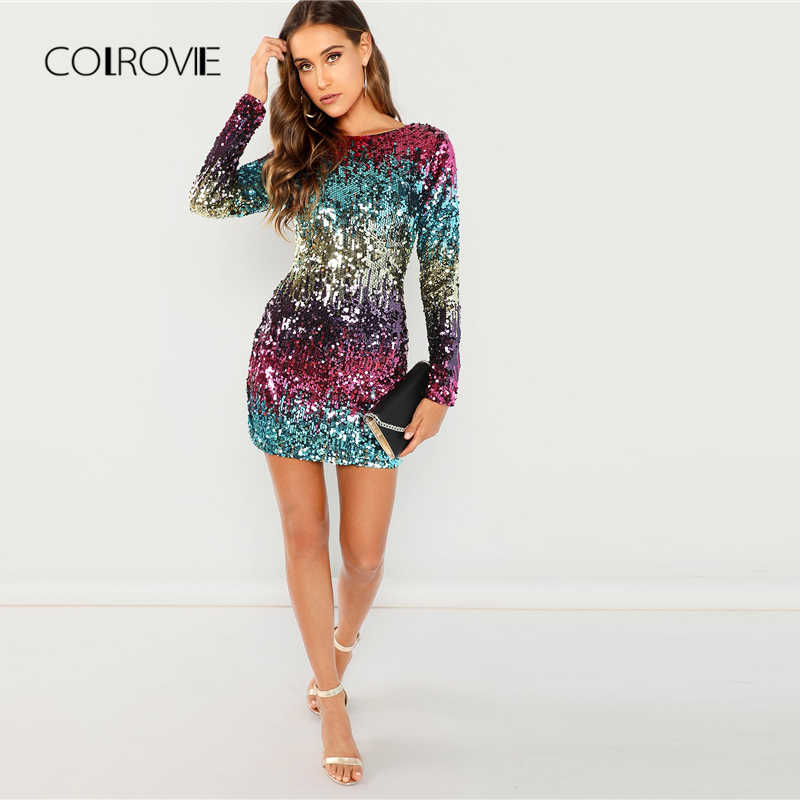 ... COLROVIE Embroidery Zipper Sequin Sexy Dress Women 2018 Autumn Long  Sleeve Evening Party Dress Streetwear Elegant ... d5623810cb62
