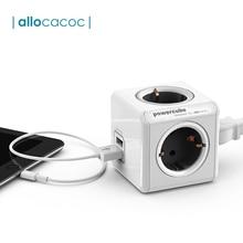 Allocacoc power cube EU Plug power Strip 4 AC адаптер пробки 3680 Вт смарт 2 USB порт зарядное устройство Удлинительный кабель с патроном 1,5 м 3 м