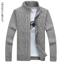 TIMESUNION Brand Man Sweater Casual Men cardigan thick cashmere sweater outerwear winter Gray Blue