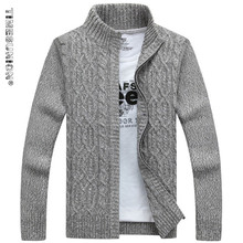 TIMESUNION Brand Man Sweater Casual Men cardigan thick cashmere sweater outerwear winter Gray Blue