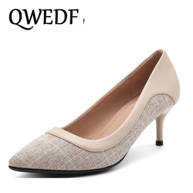 87efc4fa8abf QWEDF 2019 New arrive comfortable business pump shoes women high heel shoes  summer fashion mature ladies shoes party LL-030