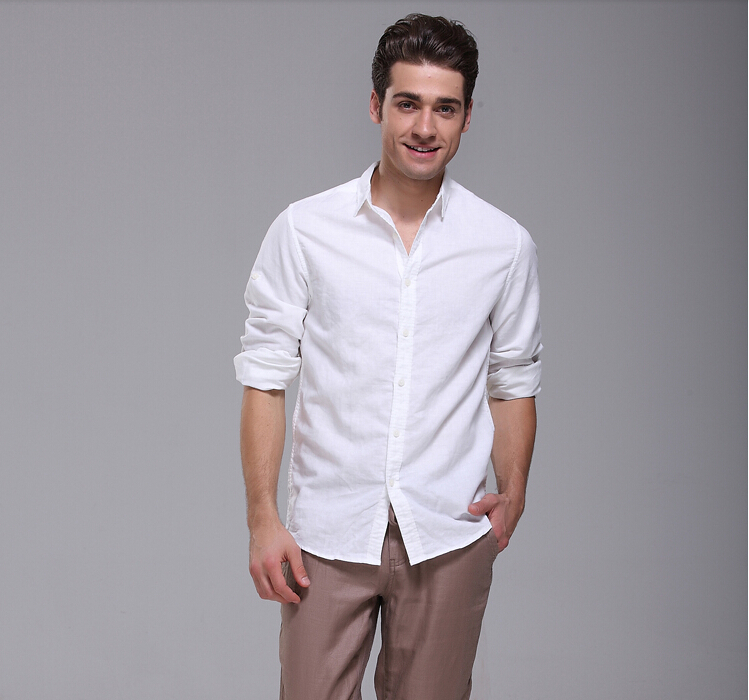 2014 Men S Casual Fashion Linen Shirt Men Long Sleeve White Shirts