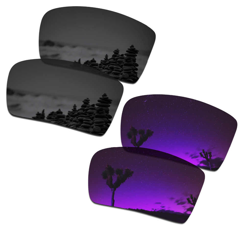 026ee94ec11 SmartVLT 2 Pairs Polarized Sunglasses Replacement Lenses for Oakley  Eyepatch 2 Stealth Black and Plasma Purple