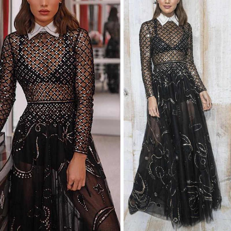 Женское черное Макси платье перспективный дизайн с длинными рукавами ESexy Клубные вечерние платья
