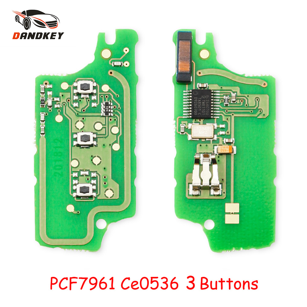Dandkey CE0236 3 Buttons Flip Remote Control <font><b>Key</b></font> Electronic Board For <font><b>Peugeot</b></font> 207 <font><b>208</b></font> 307 308 408 For Citroen C2 C5 ID46 Chip image