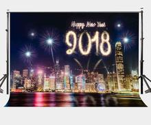 150x220cm Happy New Year 2018 Backdrop Colorful Fireworks Beautiful City Night View Photography Background Party Photo Shooting