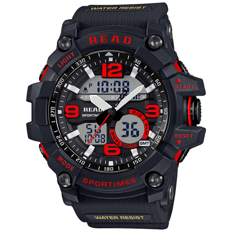 2017 R90001 Men Sports Watches Waterproof Fashion Digital Dual Time Zones Military Sports Men s Watches