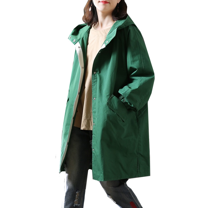 Women's Long Hooded   Trench   Coat Spring Autumn Fashion Loose Long-sleeved Ladies Cotton Outerwear Casual Windbreaker BF Coat Tide