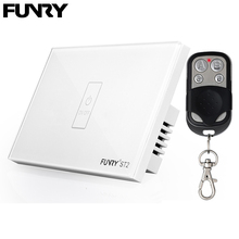 Funry ST2 1Gang US Standard Capacitive Touch Switch Remote Control luxury Glass Wall Switch Panel Light Switch 110-240V 433MHz