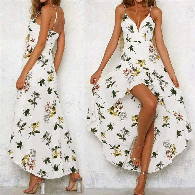 HOT sell NEW Fashion summer dress 2018 Womens Holiday Plunge Ladies Maxi Long Summer Floral Print Beach Dress vestido J21#N