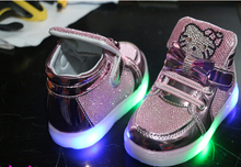 children shoes   spring hello kitty rhinestone led shoes girls princess cute shoes with light eu 21-30