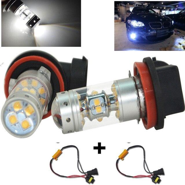 H11 H8 Sharp Chips LED 140W Hight Power Bulbs Canbus For Car Driving Fog Light Lamp+Led Load Resistors For BMW E90 325 328 335i