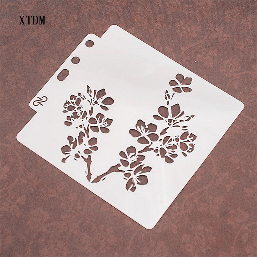 Two flowers plastic mold shield DIY cake scrapbook stencils hollow Embellishments printing lace ruler Valentine's Day