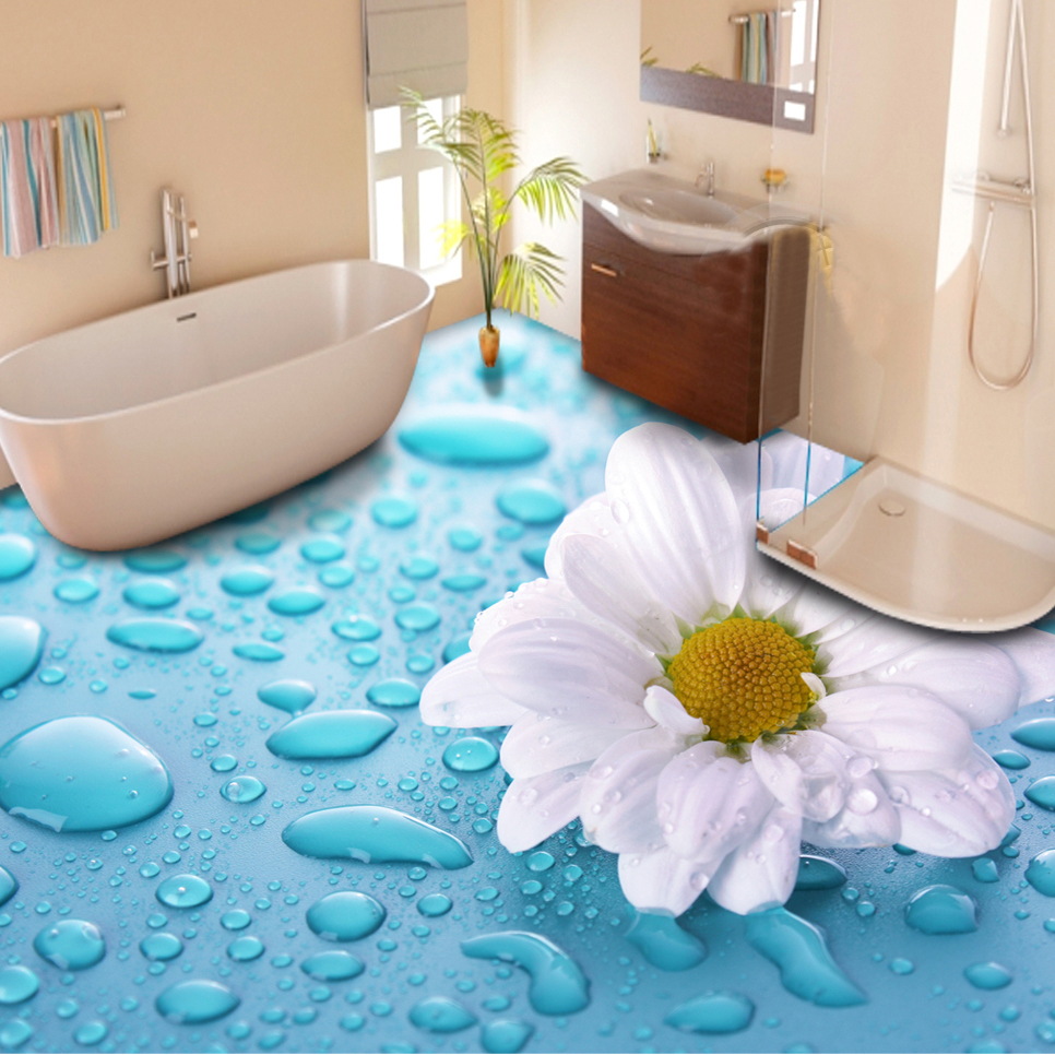 Custom floor wallpaper 3d stereoscopic drops flower vinyl - Trompe l oeil sol salle de bain ...