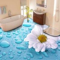 Custom Floor Wallpaper 3D Stereoscopic Drops Flower Vinyl Floor Tiles Waterproof Wallpaper For Bathroom 3D Floor